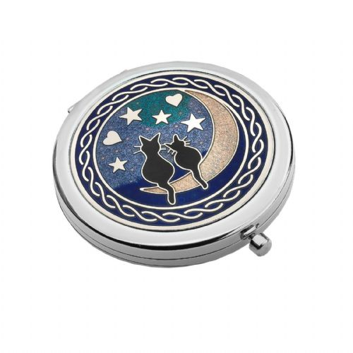 Compact Mirror Silver Plated Cat Cats Moon Handbag Magnifying Travel Cosmetic